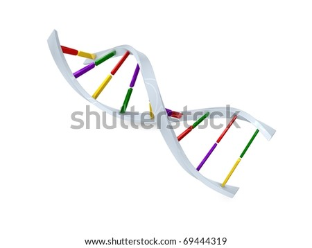 Concept graphic; DNA cell structure, isolated on white background. - stock photo