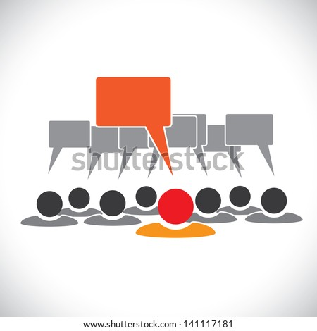 Concept graphic- leader & employees talking ( speech bubbles ). This illustration can also represent people meeting, teamwork, network, employee conversation & interaction, worker discussions, etc - stock photo