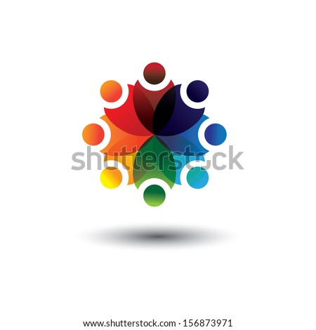 Concept graphic of colorful kids learning in school in circle. The graphic also represents concepts like worker unions, employee diversity, community friendship & sharing, children playing, etc  - stock photo