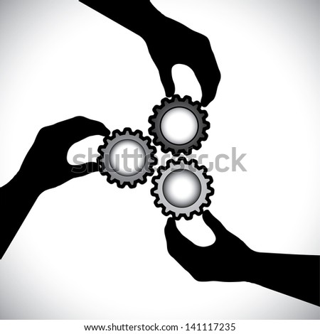 Concept graphic- of teamwork, community unity & integrity. The illustration shows 3 hand silhouettes holding 3 cog wheels & rotating them in sync & balance - stock photo