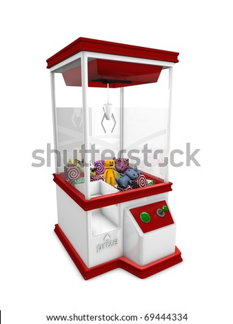 Concept graphic; Prize machine, isolated on white background. - stock photo