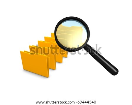 Concept graphic; Scanning folders, isolated on white background.