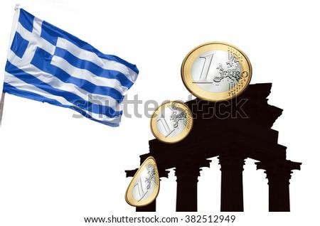 Concept, Greek, European financial crisis. Flag Greece, euro coins and Greek columns. - stock photo