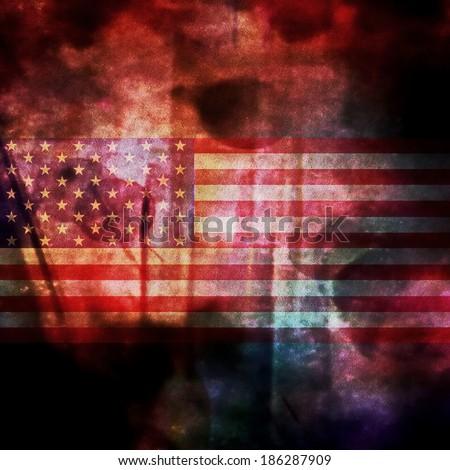 Concept Grunge USA Flag - stock photo