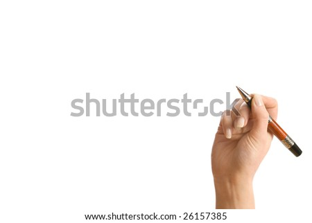 Concept. Hand and pen isolated on white