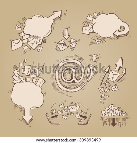 Concept hand drawn pictures set with e-mail letters and arrows - stock photo