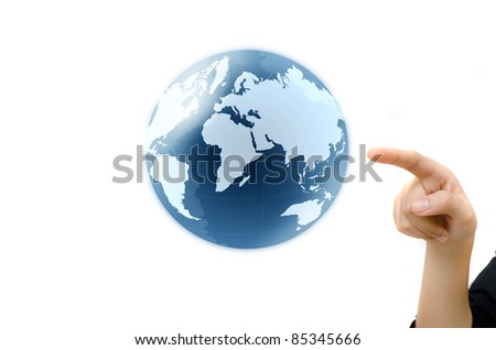 concept hand pointing earth globe. - stock photo