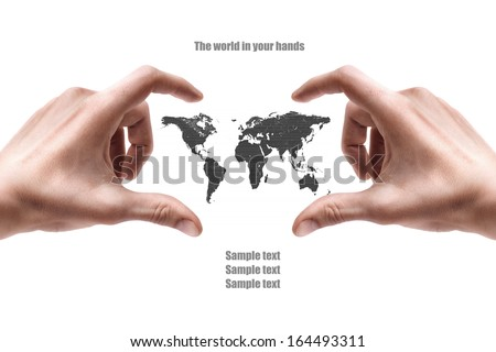Concept. Hand with the map isolated on white background High resolution  - stock photo