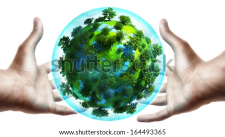 concept. hands holding a glowing earth globe in his hands - stock photo