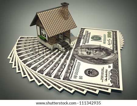 concept house and dollars  3d High resolution - stock photo
