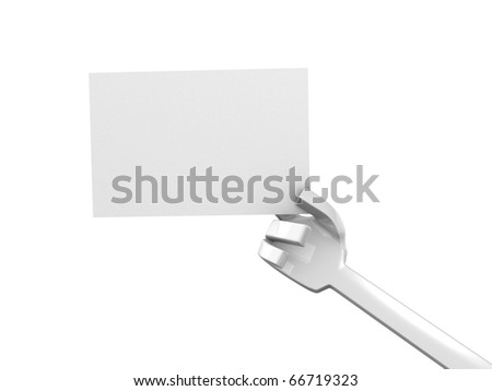 Concept human hand holding blank card, isolated on white