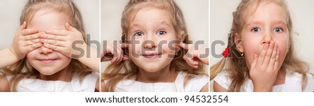 Concept. I see nothing, hear nothing, nothing will not tell anyone. - stock photo