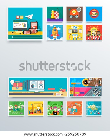Concept icon for business strategy, mission, analytics with target, time is money, start up rocket, advertising expert graphic designer cloud computing internet. Flat icon design style. Raster version - stock photo