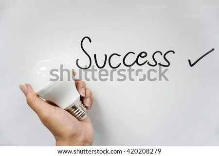 concept icon of success with LED bulb in hand