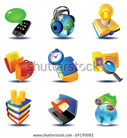 Concept icons for business communications and media. Raster version. Vector version is also available. - stock photo