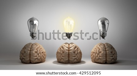 concept idea arose three brain lie on the floor and one of them emits light bulbs 3d rendering on a gray gradient background - stock photo