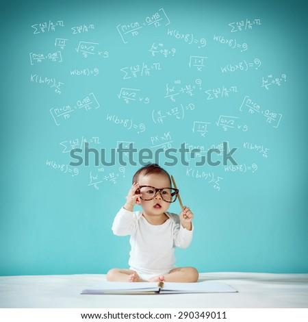 Concept, idea of amazing newborn, new family and love concept, studio shot - stock photo