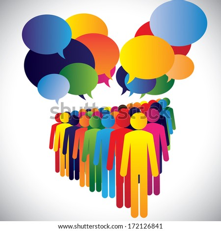 Concept illustration - company employees interaction & communication. This graphic also represents leadership concept, teamwork, meeting, employee discussions, people expressing opinions, group chat - stock photo