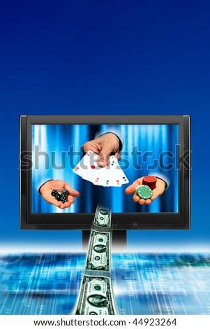 concept illustration for gambling online - stock photo