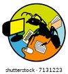 Concept illustration for productivity. A multi-tasking office worker in the form of an ant. - stock photo