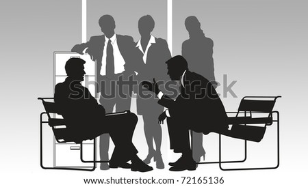 concept illustration of a businessman in his work - stock photo