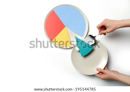 Concept illustration of a pie chart on a plate, one segment is served. - stock photo