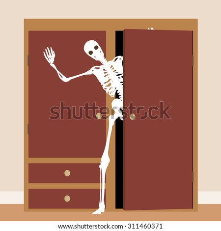 Concept illustration of a skeleton waving from a cupboard or closet - stock photo
