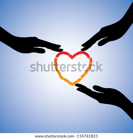 Concept illustration of healing of broken heart. The graphic shows supporting hands helping heart recover from emotional pain and trauma - stock photo