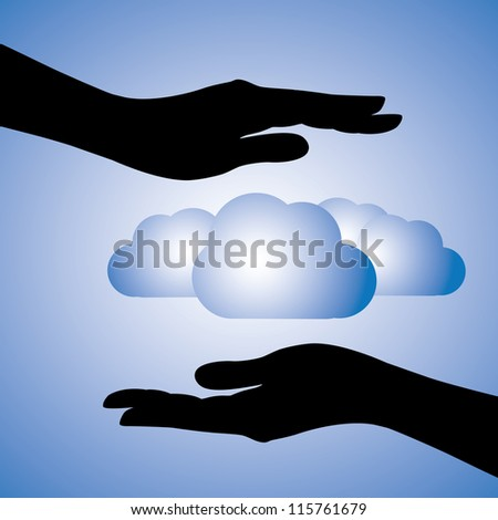 Concept illustration of protecting data(cloud computing). The graphic contains female hands silhouette covering cloud symbols. This can represent concept of data protection, information security - stock photo