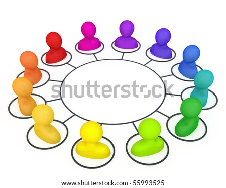 Concept illustration of social network. - stock photo