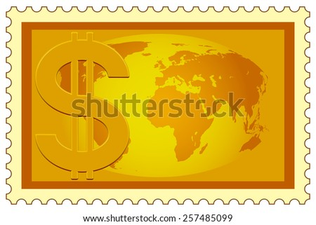 Concept illustration of the US Dollar symbol and Globe on postage stamp. Elements of this image furnished by NASA - stock photo