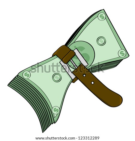 Concept illustration showing a belt tightened around some cash - stock photo