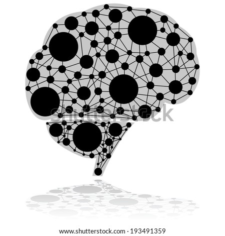 Concept illustration showing a brain made up of circles connected by black lines - stock photo