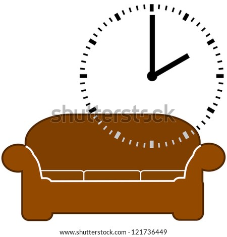 Concept illustration showing a couch and a dial clock displaying 2 o'clock, for nap time