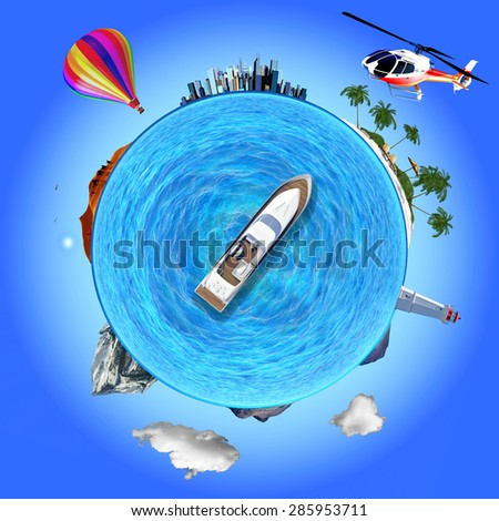 Concept illustration that shows several travel destinations: urban, desert, beach, mountain. The yacht is like a compass choosing its destination. - stock photo