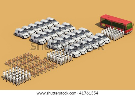 Concept illustration, the same number of people, occupies a different space, which depends on means of transport used - stock photo