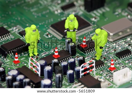 Concept image about how electronics can be hazardous to our environment if not recycled properly. - stock photo