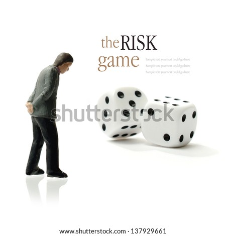 Concept image depicting the risks of gambling. Copy space. - stock photo