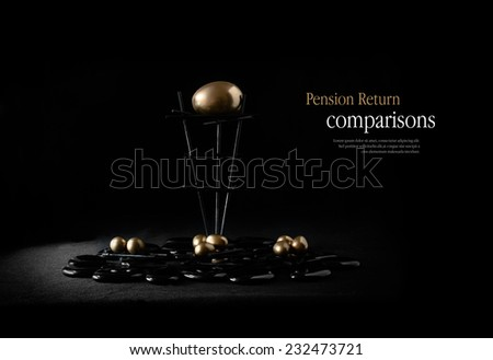 Concept image for comparison pension plans. Gold eggs in nests against a dark background. Copy space. - stock photo
