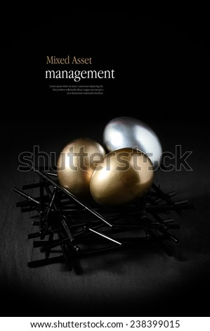Concept image for mixed asset financial management. Mixed gold and silver goose eggs in a stark birds nest against a black background. Copy space. - stock photo