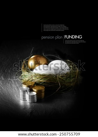 Concept image for mixed asset pension financial management. Mixed gold and white goose eggs in a grass birds nest with stacked coins against a black background. Copy space. - stock photo