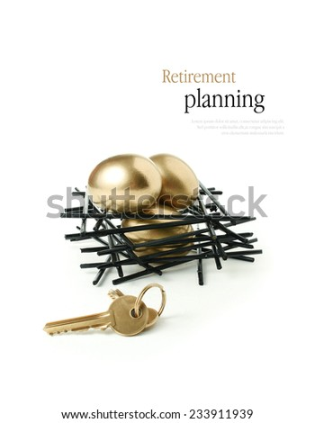 Concept image for pension planning Golden goose eggs in a stark wooden birds nest with gold keys against a white background. Copy space. - stock photo