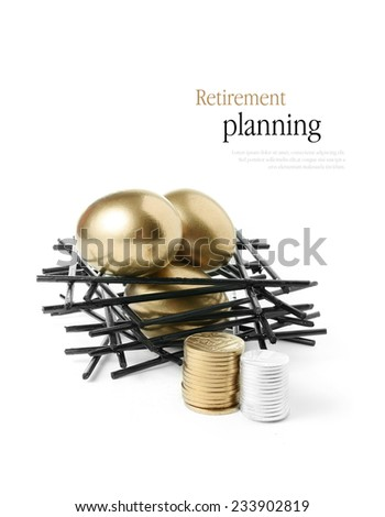 Concept image for pension planning Golden goose eggs in a stark wooden birds nest with stacked coins against a white background. Copy space. - stock photo