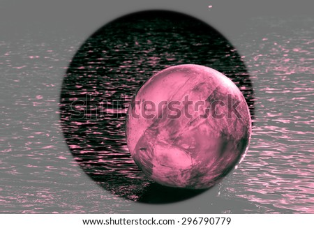 concept image for universal environmental issue using inflatable rubber ball with earth like markings and rippled water surface  - stock photo