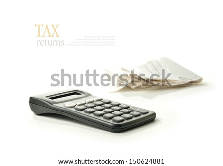 Concept image for your tax returns. Lots of copy space for your own message. - stock photo