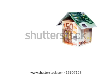 Concept image.  House made of  money - stock photo
