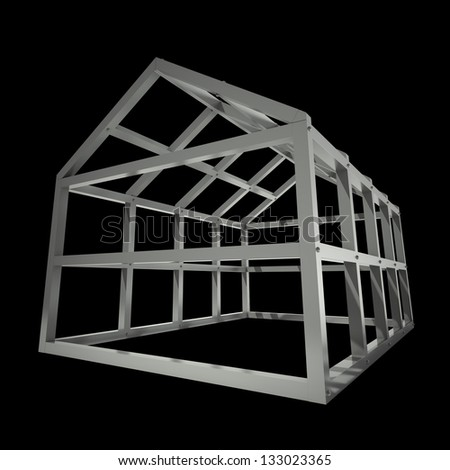 concept image new home framework isolated on black background 3d rendering