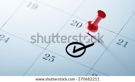 Concept image of a Calendar with a red push pin. Closeup shot of a thumbtack attached. Check Mark written on a white notebook to remind you an important appointment. - stock photo