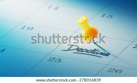Concept image of a Calendar with a yellow push pin. Closeup shot of a thumbtack attached. The words Deadline written on a white notebook to remind you an important appointment. - stock photo