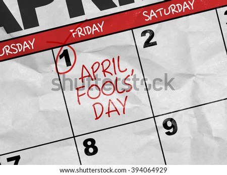 Concept image of a Calendar with the text: April Fools' Day - stock photo